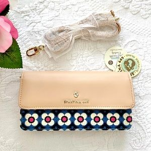 NWT Spartina Jane Crossbody Leather Linen Wallet